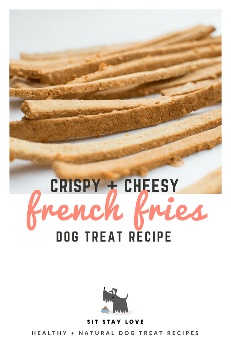 Home-made french fries for dogs that are crispy and cheesy.